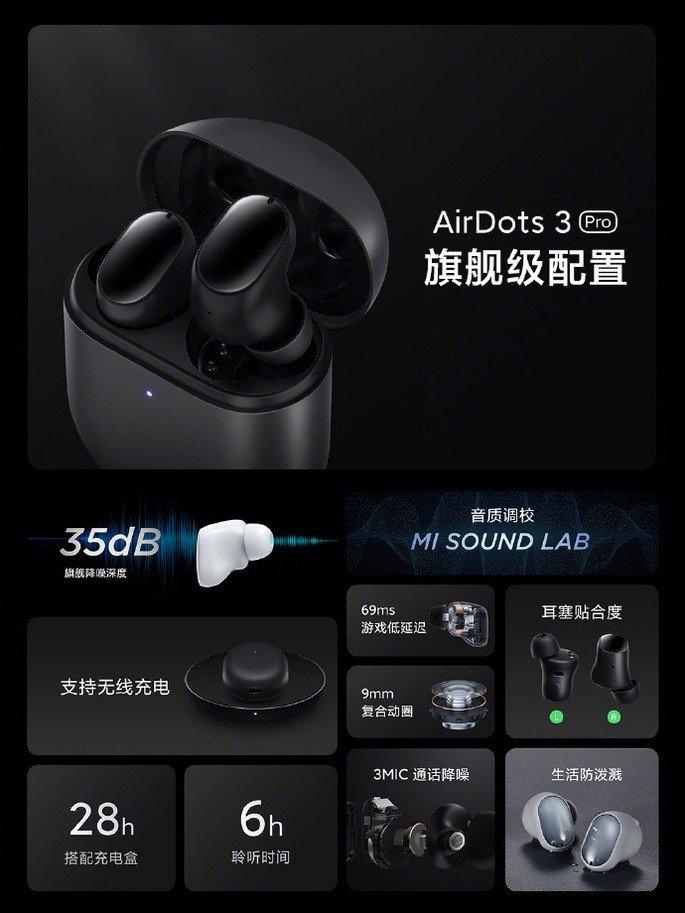 Redução de ruído até 35dB nos AirDots 3 Pro