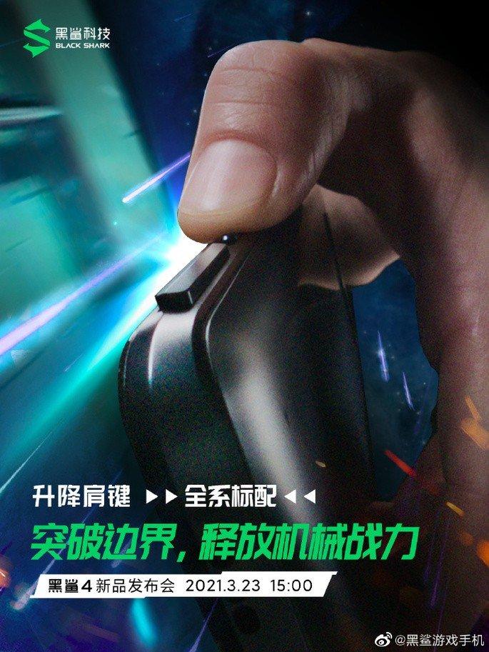 Botões mecânicos na lateral do Black Shark 4