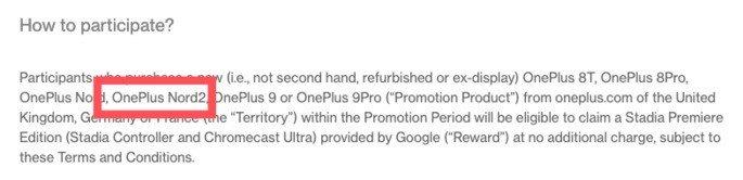 Referência direta ao OnePlus Nord 2 na FAQ do site oficial. Crédito: Android Police