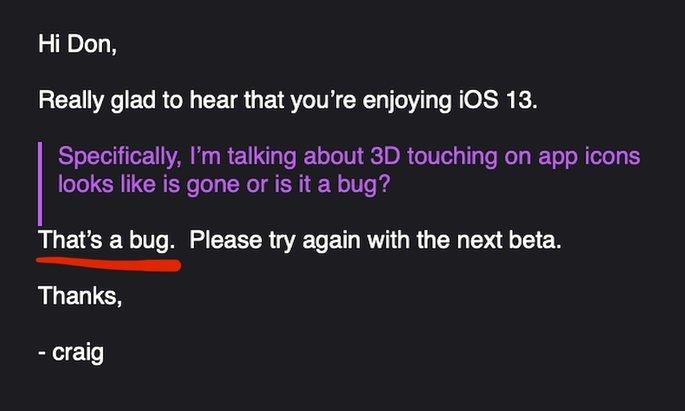 3d touch apple ios 13 bug