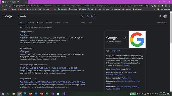 Teste do modo escuro na pesquisa Google para computador. Fonte: Reddit