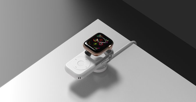 Apple Watch Series 4 concept with 'Pod Case'.  Credit: Joyce Kang