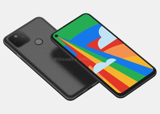 Render do Google Pixel 5. Crédito: @OnLeaks