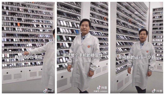 Lei Jun, CEO da Xiaomi, no laboratório de testes