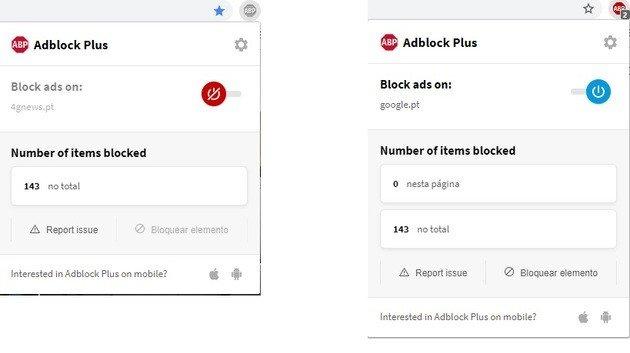 adblock desativar