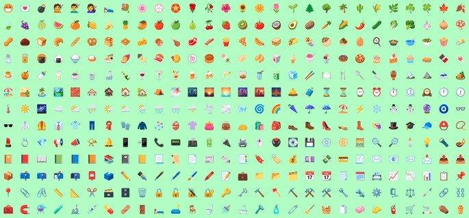 Os 389 emojis renovados do Android 12. Crédito: Emojigraph