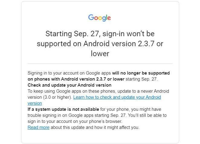 Este é o email que a Google está a enviar aos utilizadores. Via: Bleeping Computer