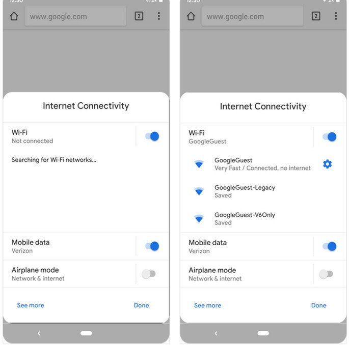 Android Q internet