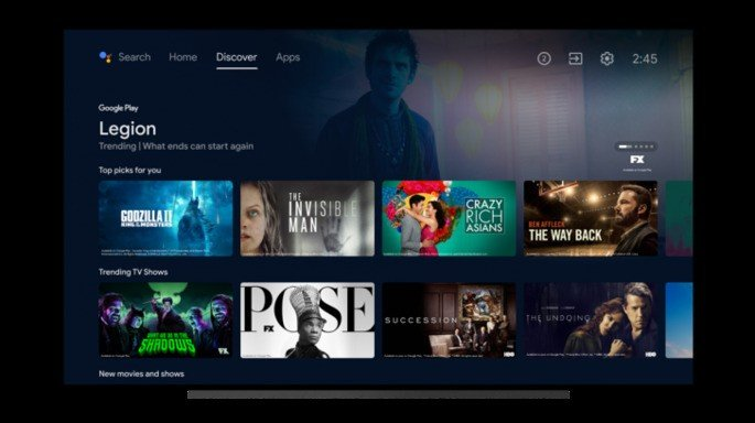 O novo design do Android TV