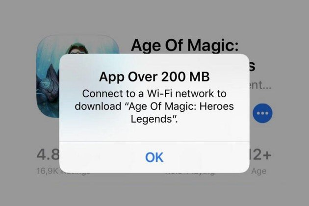 apple app store 200mb