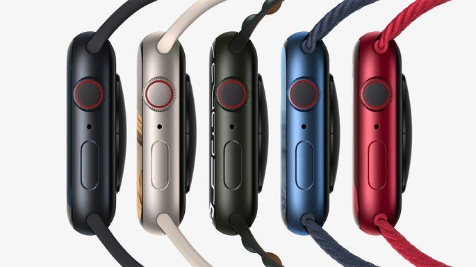 A lateral do Apple Watch Series 7