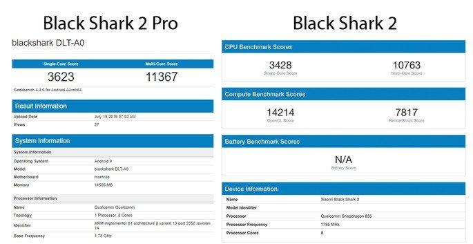 Black shark 2 Pro e Black Shark 2