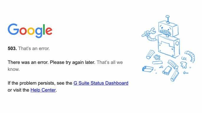 google calendar error message