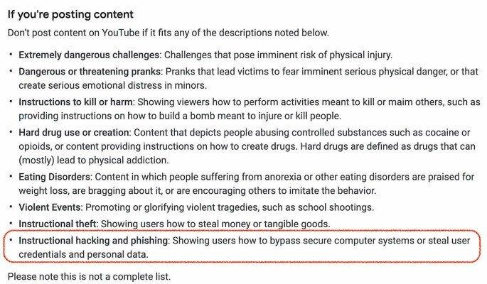 youtube hacking phishing