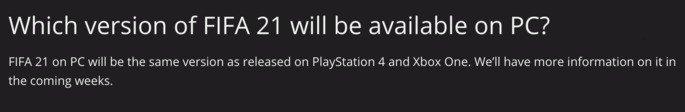 FAQ disponível no site oficial da Electronic Arts
