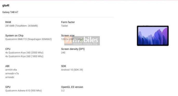 Samsung Galaxy Tab A7 (2020) listado na Google Play Console
