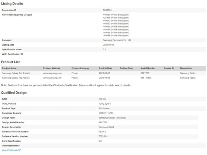 Documentos da Bluetooth SIG confirmam o Samsung Galaxy Tab Active 3
