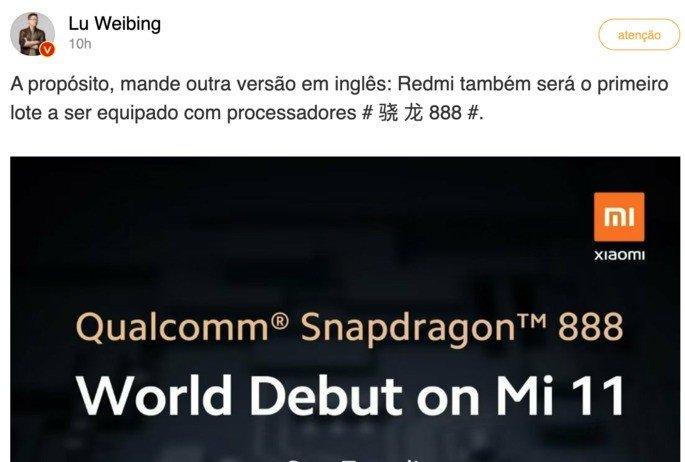 Lu Weibing, diretor-geral da Redmi, confirmou Snapdragon 888