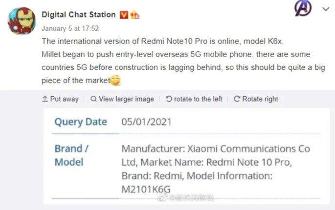 Redmi Note 10 Pro certificado