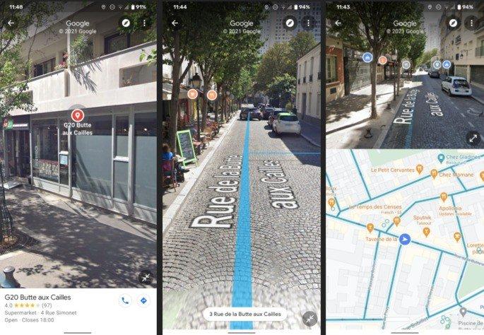 Google Maps já tem Street Views com ecrã dividido na versão 10.59.1. Imagens: Android Police
