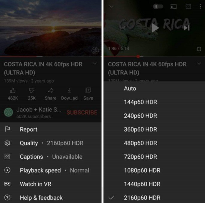 YouTube com resolução a 2160p em mais smartphones Android. Crédito: GSMArena