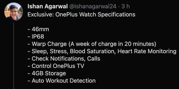 Ishan Agarwal avança características principais do OnePlus Watch