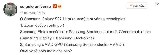 Alegadas características do Samsung Galaxy S22 Ultra. Crédito: Ice Universe