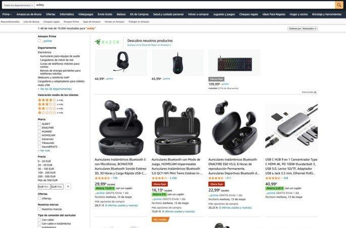 """Uma pesquisa por """"Aukey"""" na Amazon de Espanha não oferece resultados para a marca"""