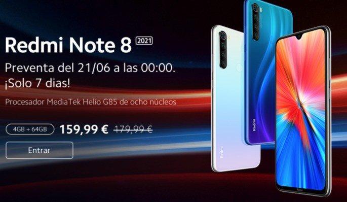 Xiaomi Redmi Note 8 2021 em pré-venda por 159,99 €