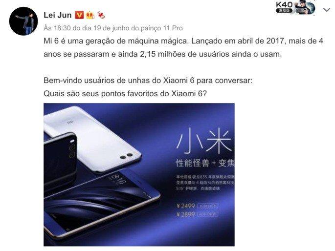 Lei Jun revela utilizadores ativos do Mi 6