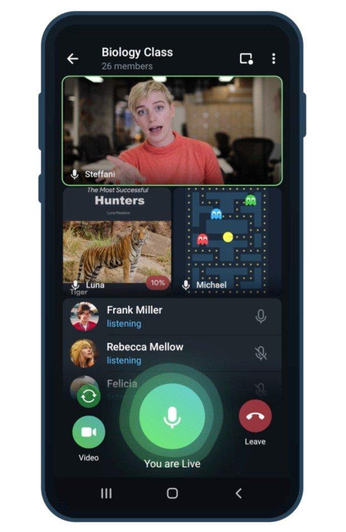 Partilha de ecrã também chega às chamadas de vídeo no Telegram