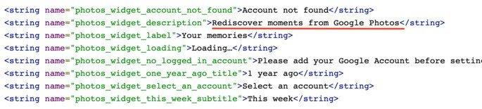 Linhas de código fazem referência aos Widgets de Memórias do Google Fotos para o Android. Crédito: XDA-Developers