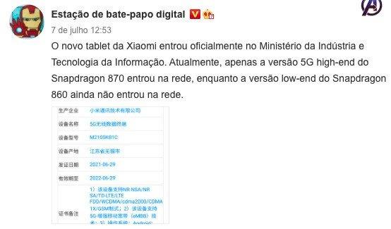 Confirmação do Snapdragon 870 no Xiaomi Mi Pad 5