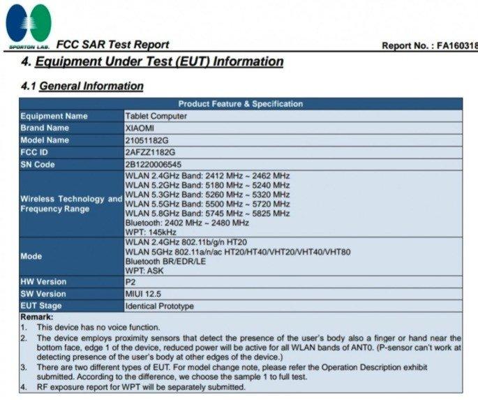 Xiaomi Mi Pad 5 certificado na FCC