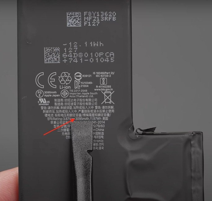 Capacidade de bateria do iPhone 13 Pro