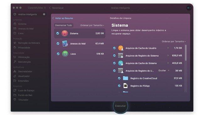 Ecrã inicial da app CleanMyMac