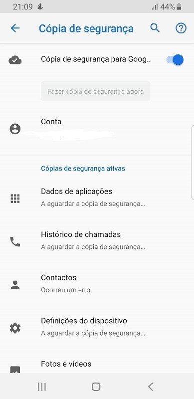 Cópia de segurança Android