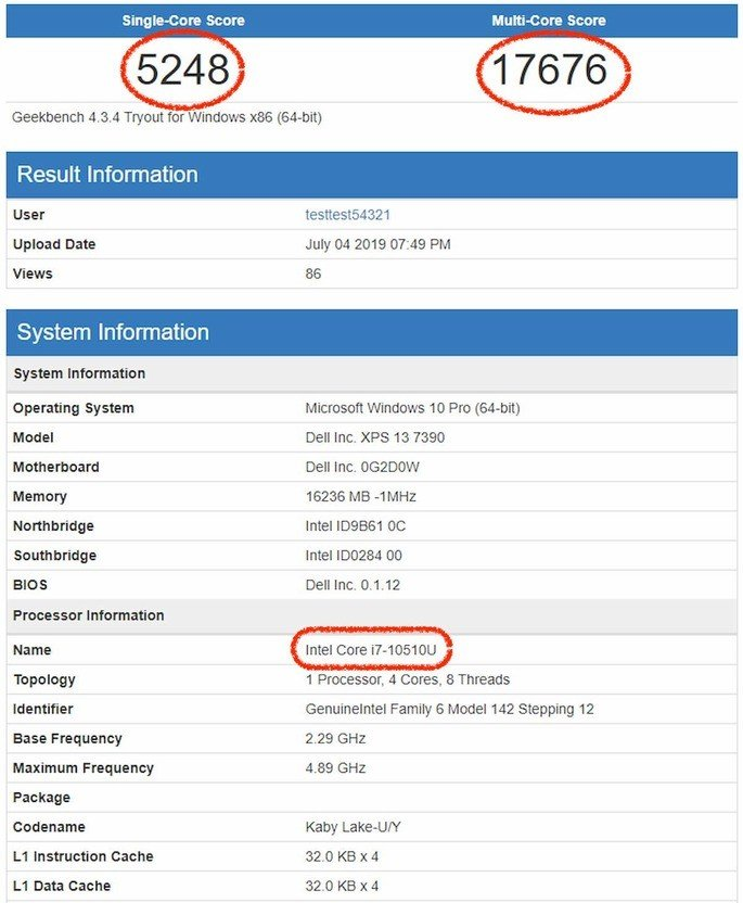 intel core i7-10510U geekbench