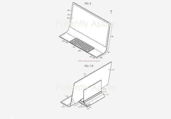 Patente de iMac curvo. Crédito: Apple/