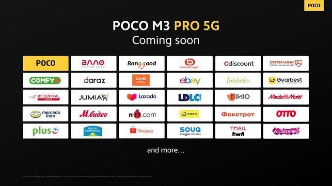 Lojas onde o POCO M3 Pro estará disponível primeiro
