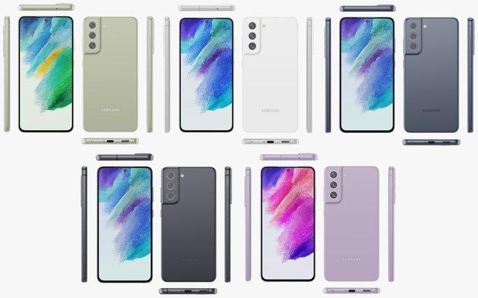 Este é o Samsung Galaxy S21 FE nas suas cinco cores e de todos os ângulos.