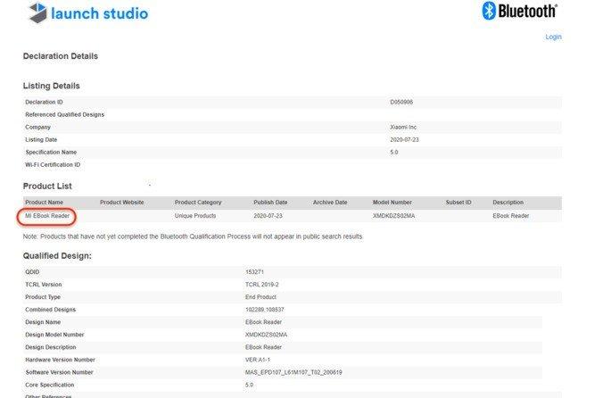 Xiaomi Mi EBook Reader certificado pela Bluetooth SIG. Crédito: Mukul Sharma