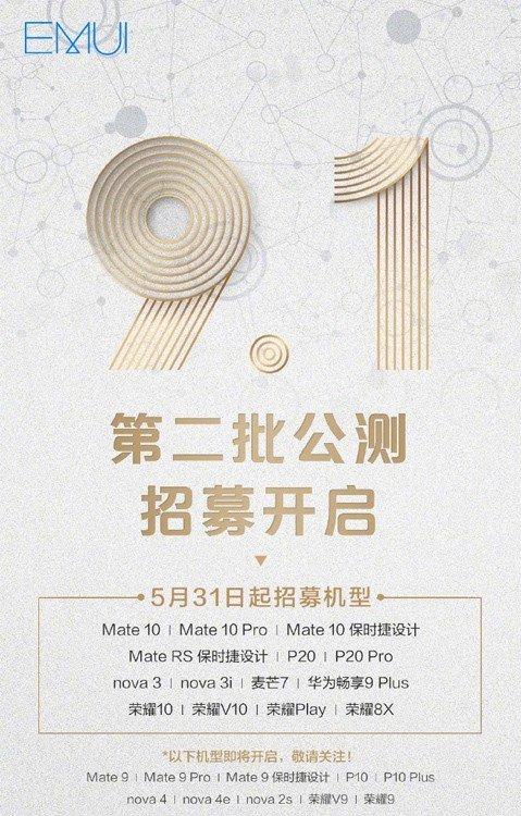EMUI 9.1 Beta Huawei Honor