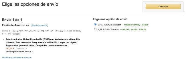 Envio grátis para Portugal Amazon ES