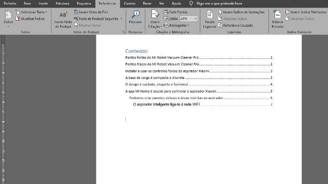 Exemplo de índice automático no Microsoft Word