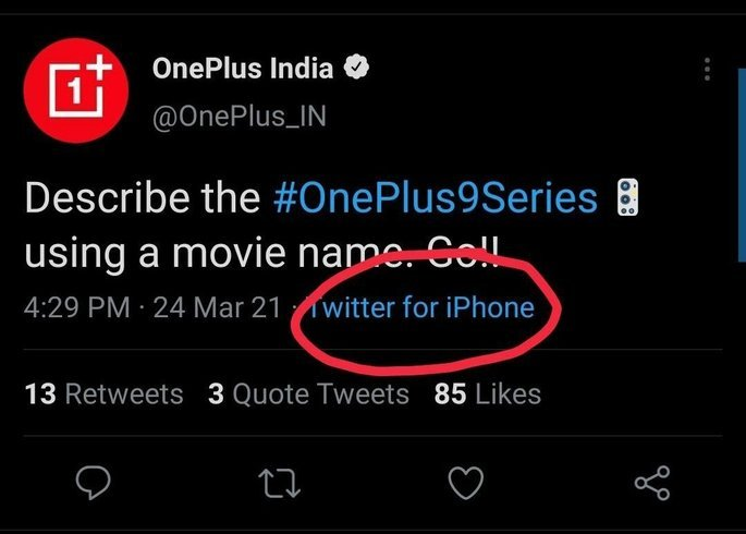Página da OnePlus Índia fez tweet a partir de um iPhone