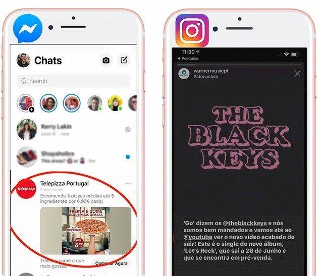 Publicidade à esquerda do Facebook Messenger, publicidade à direita do Instagram