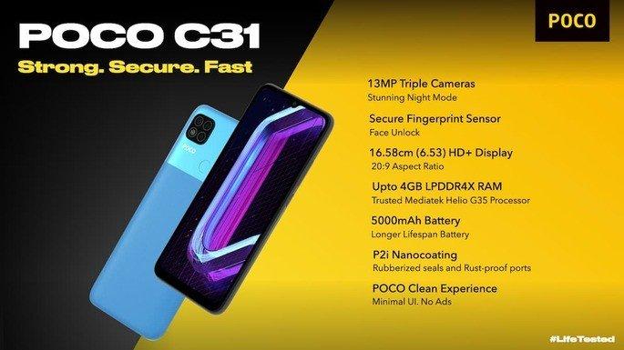 Principais detalhes do Xiaomi POCO C31