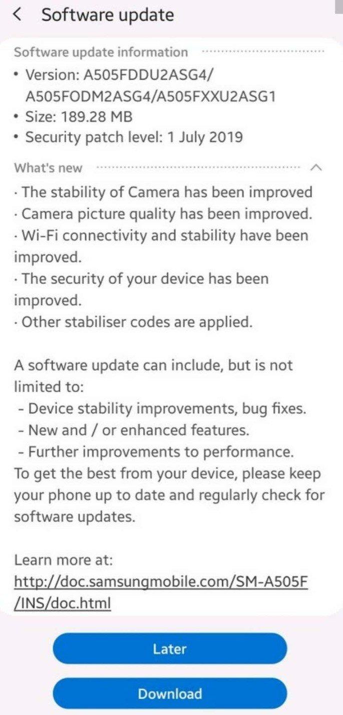 samsung galaxy a50 update