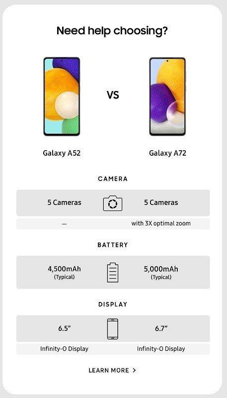 Galaxy A52 Galaxy A72